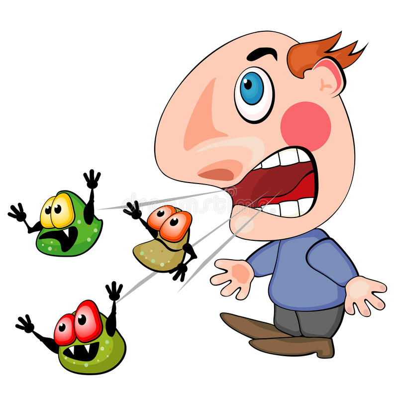 Coughing or sneezing man stock illustration