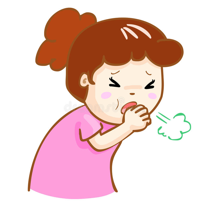 Coughing woman cartoon illustration. Ill woman coughing hard cause flu disease royalty free illustration