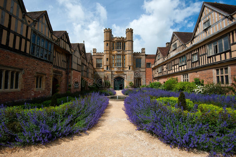 Coughton court. The garden entrance of Coughton Court a historic house in warwickshire, UK. Has close connections to the gunpowder plot royalty free stock images