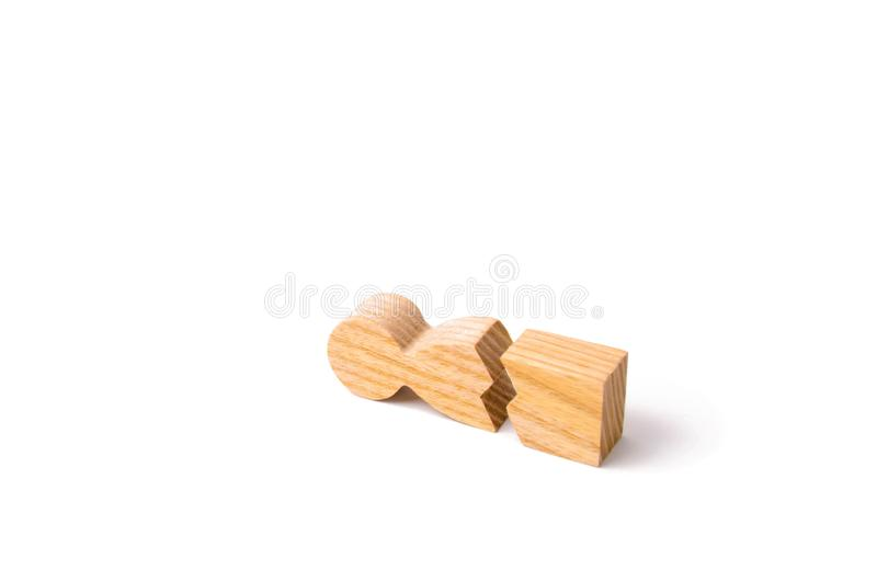 Could not stand our nerves and our health. Threat of life. Injury and death. Never give up. Motivation. A wooden figure of a man is broken. The concept of royalty free stock images