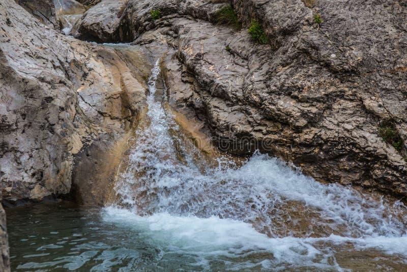 ?coulement de l'eau entre les roches d'un courant de montagne photographie stock libre de droits