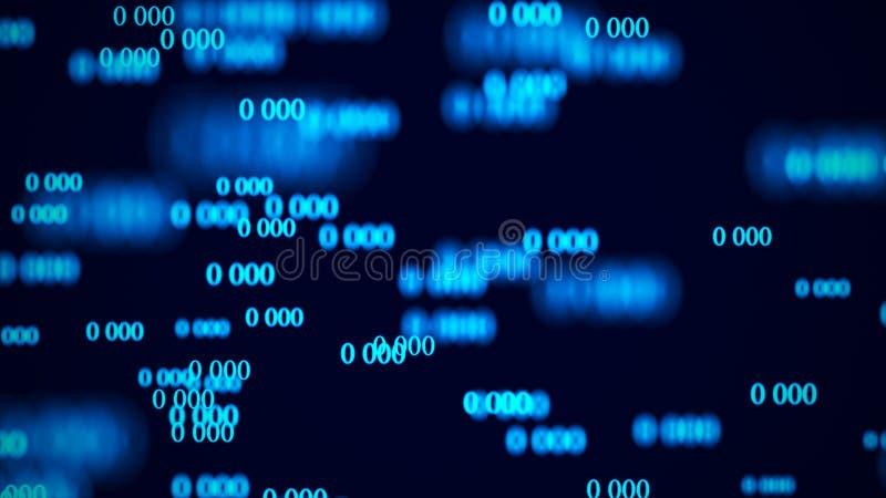 ?coulement des z?ros Matrice de fond de Digital rendu 3d Fond de code binaire programmation D?veloppeur web illustration libre de droits