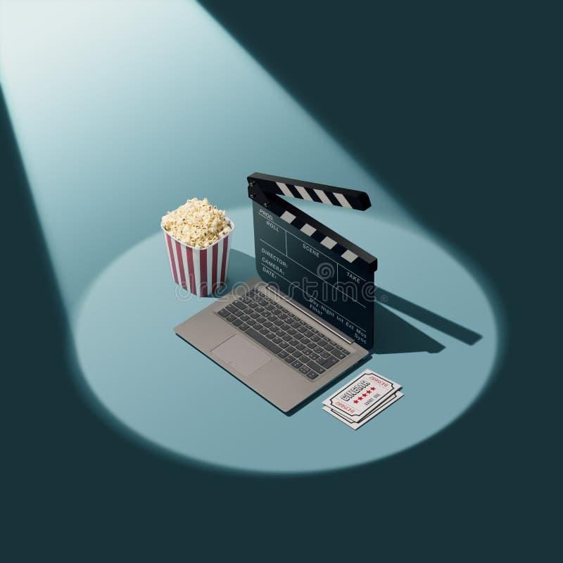 Couler en ligne et cinéma de film illustration stock