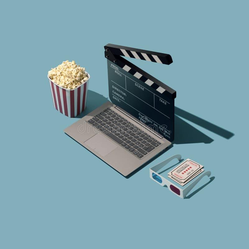 Couler en ligne et cin?ma de film illustration stock