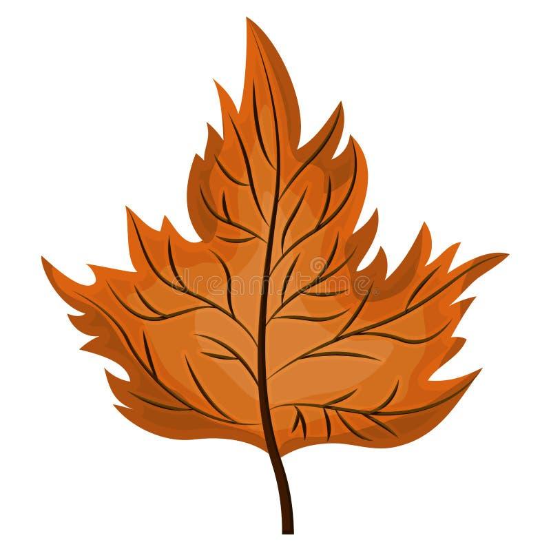 Couleur âgée par orange de silhouette des feuilles sèches illustration libre de droits