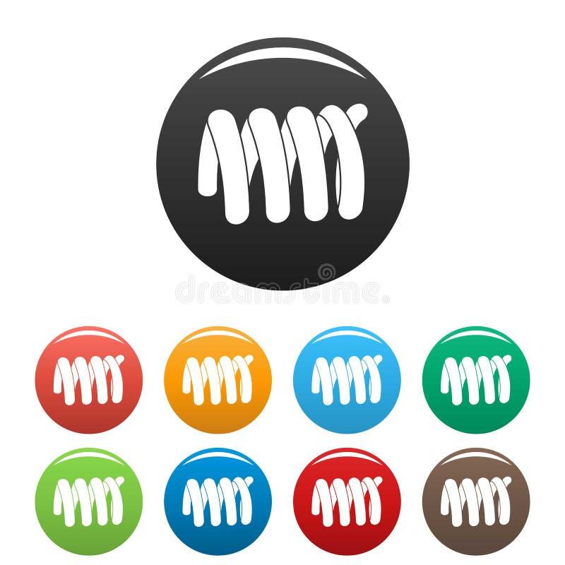 Couleur élastique d'ensemble d'icônes de bobine de ressort illustration stock