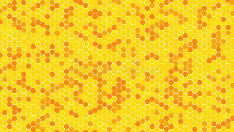 Couleur aléatoire de nid d'abeilles ou de cellules de grille de ruche d'or ou du ton jaune de couleur pour le fond ou la texture  image stock