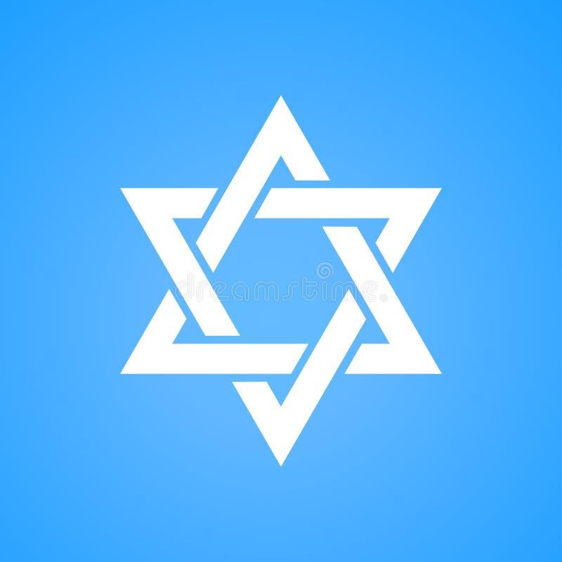 Couleur blanche d'étoile de David stylisée sur le fond bleu Symbole de Hexagram de Tanah de judaism de l'Israël illustration libre de droits