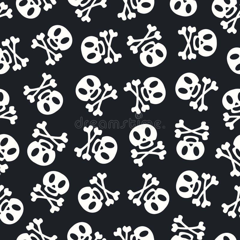 Couleur blanche de crâne de modèle de Halloween sur le fond noir illustration de vecteur