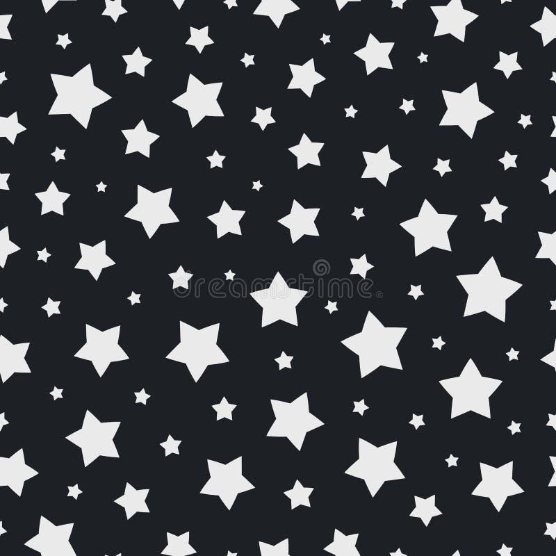 Couleur blanche de modèle sans couture d'étoile de Noël sur le fond noir pour l'élément de décoration de Noël illustration de vecteur