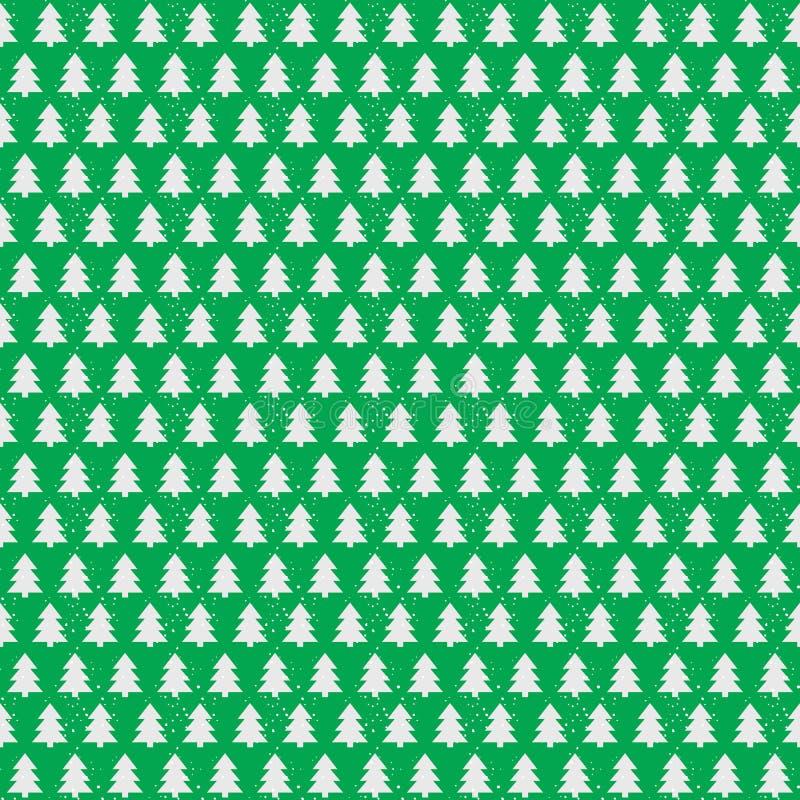 Couleur blanche de modèle sans couture d'arbre de Noël sur le fond vert de vacances illustration libre de droits