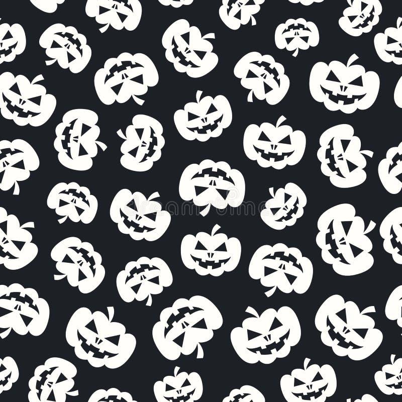 Couleur blanche de potiron de modèle de Halloween sur le fond noir illustration de vecteur