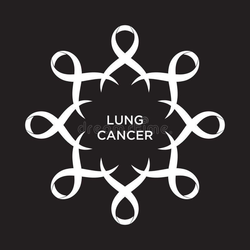 Couleur blanche de ruban de Cancer représentant l'appui d'aborder des cancers illustration de vecteur
