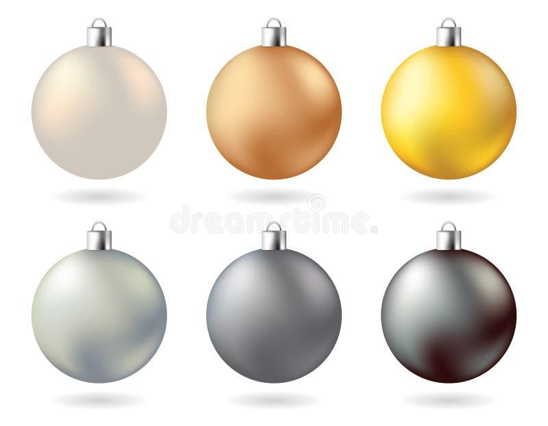 Couleur blanche noire de cuivre argentée d'or de boules de Noël en métal de lueur illustration libre de droits