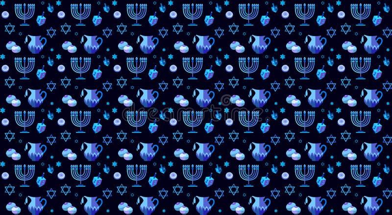 Couleur bleue hébreue heureuse de Hanoucca marquant avec des lettres des symboles traditionnels de Hanoukka de carte de voeux illustration libre de droits