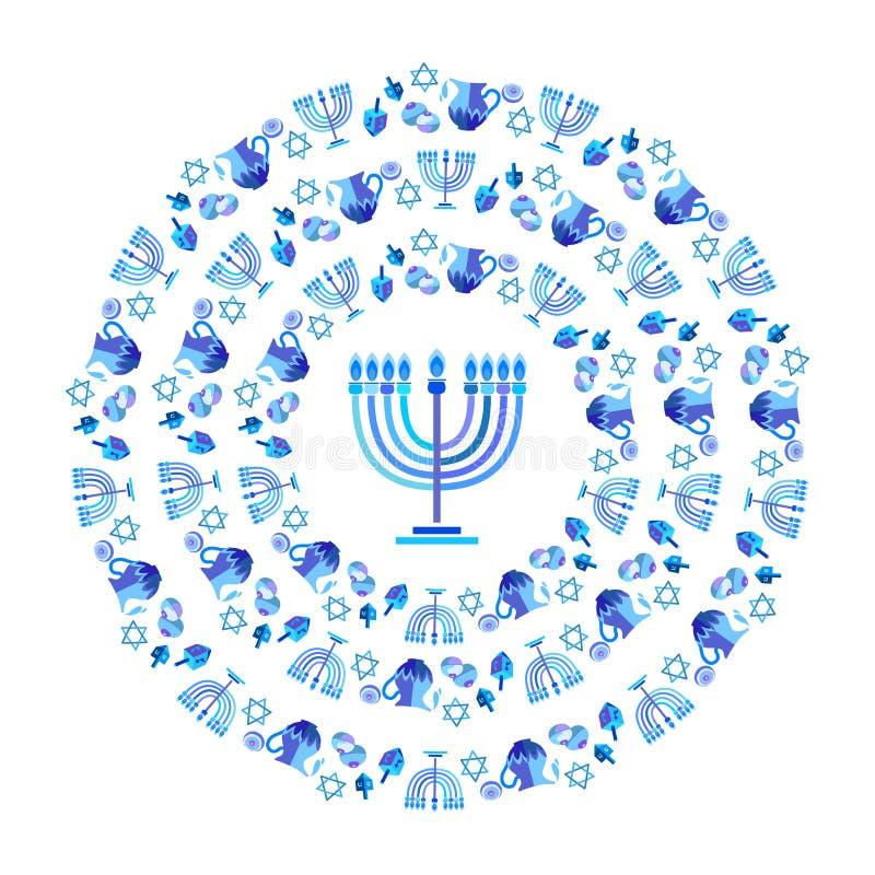 Couleur bleue hébreue heureuse de Hanoucca Menorah marquant avec des lettres des symboles traditionnels de Hanoukka de carte de v illustration libre de droits