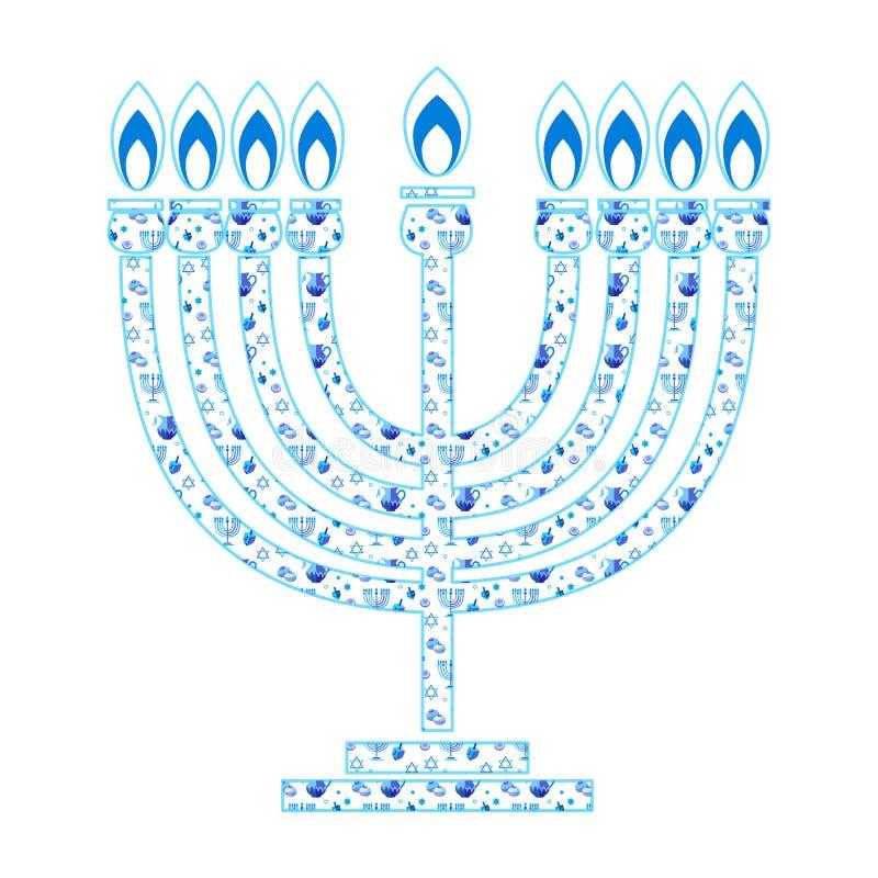 Couleur bleue hébreue heureuse de Hanoucca Menorah marquant avec des lettres des symboles traditionnels de Hanoukka de carte de v illustration de vecteur