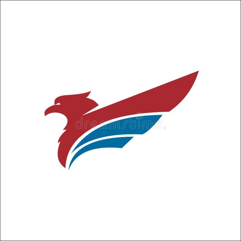 Couleur bleue rouge de vecteur de logo d'animaux d'Eagle illustration stock