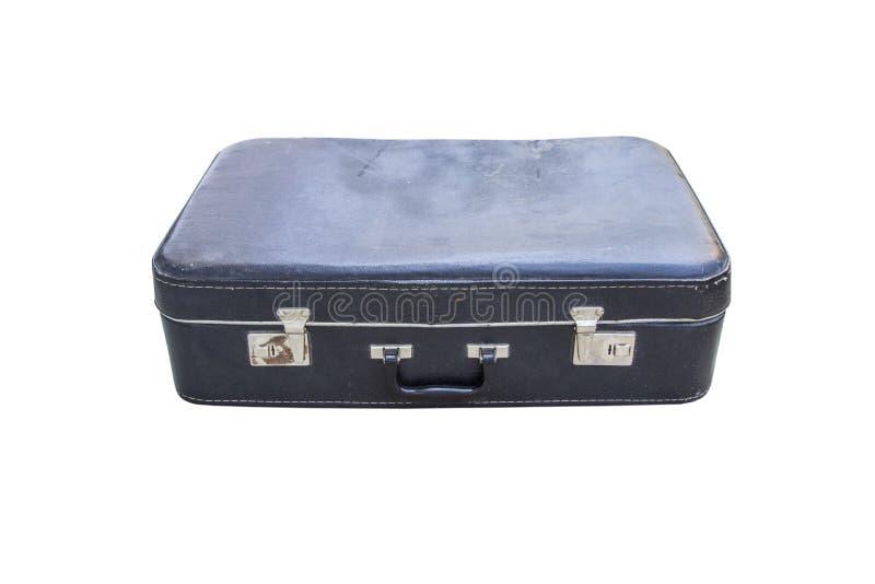 Couleur brun-noire de vieille valise en cuir minable de vintage, d'isolement sur le fond blanc, vue de face image stock