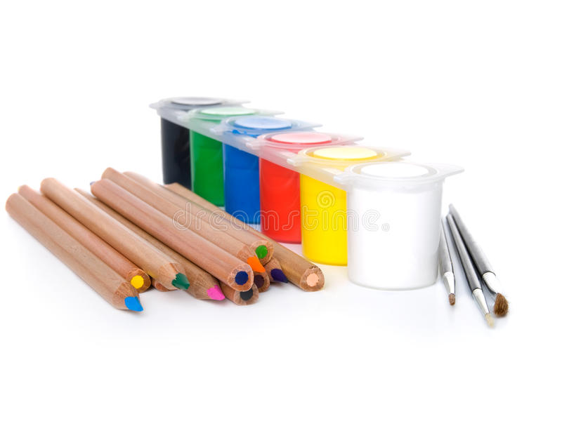 Couleur-cadre avec des crayons photographie stock