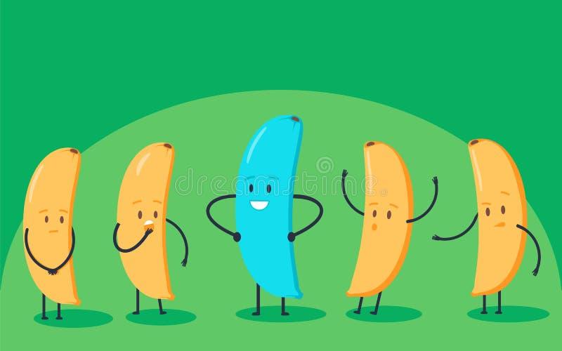 Couleur changeante et jaune de banane bleue minimaliste de montant ceux Nouvelle idée, changement, tendance, innovation et concep illustration libre de droits