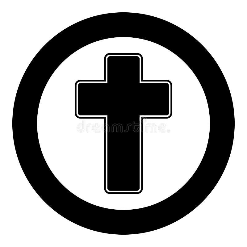 Couleur croisée de noir d'icône d'église en cercle illustration stock