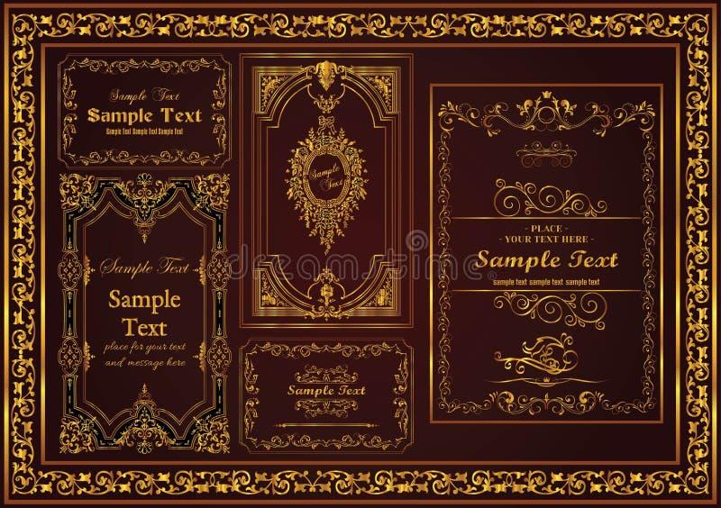 Couleur décorative d'or de cadre de cru d'ensemble gentil illustration stock