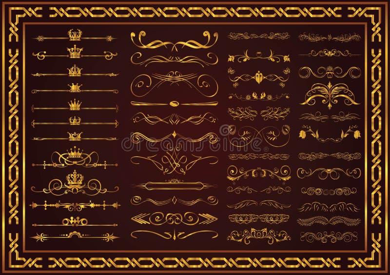 Couleur décorative d'or de cadre de cru d'ensemble gentil illustration libre de droits