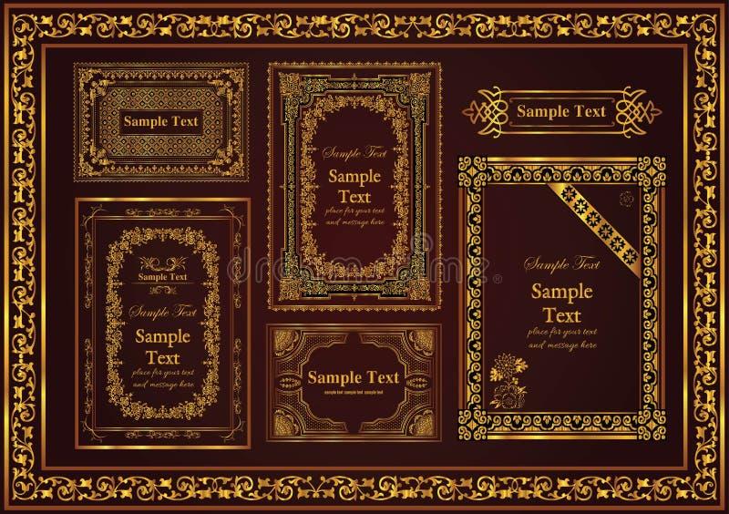 Couleur décorative d'or de cadres d'ornements de rétro objet illustration libre de droits