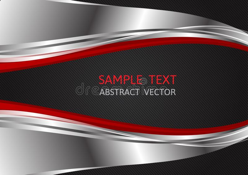 Couleur d'argent, rouge et noire, fond abstrait de vecteur avec l'espace de copie pour des affaires, conception graphique illustration de vecteur