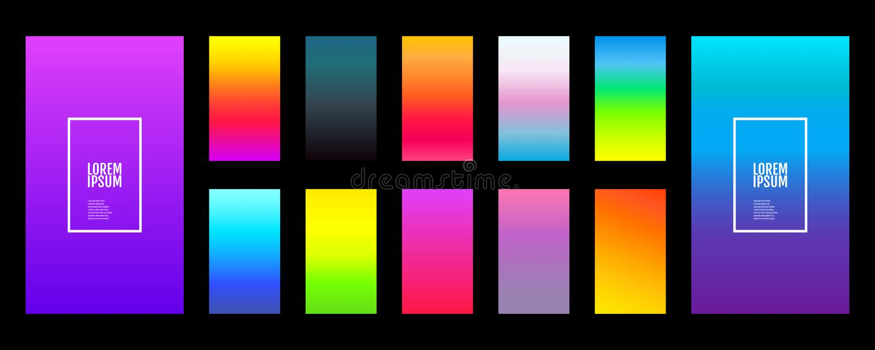 Couleur d'arrière-plan douce dans le noir Écran vectoriel de conception moderne pour applications mobiles Pentes abstraites de co illustration libre de droits