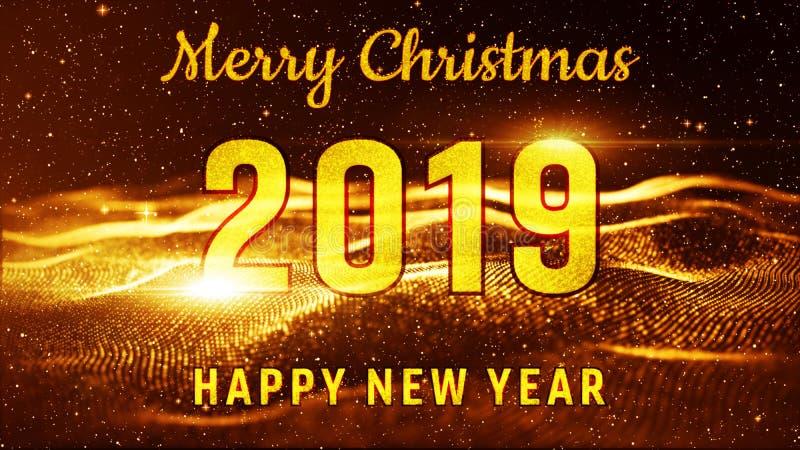Couleur 2019 d'or de Joyeux Noël et de bonne année Meilleur pour l'événement de nouvelle année, pour la carte de voeux, insectes, illustration stock