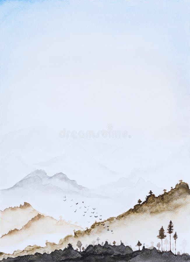 Couleur d'eau d'image, aspiration de main, fond vertical de paysage photos libres de droits