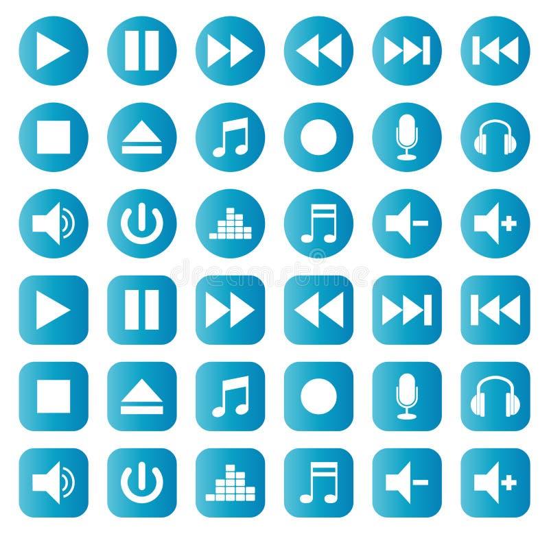 Couleur d'ensemble de vecteur d'icônes de musique de boutons illustration stock