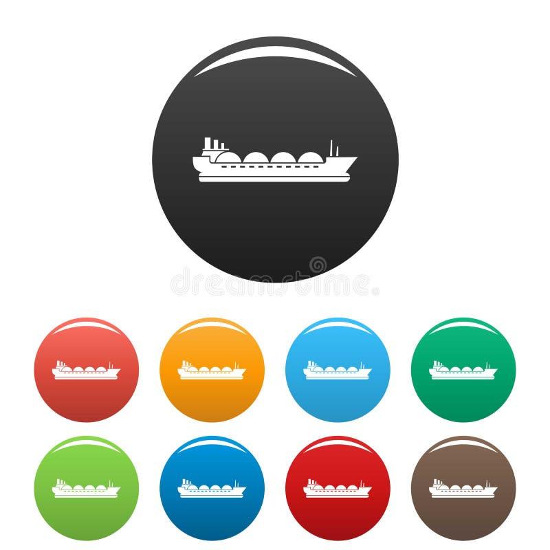 Couleur d'ensemble d'icônes de bateau de pétrolier illustration stock