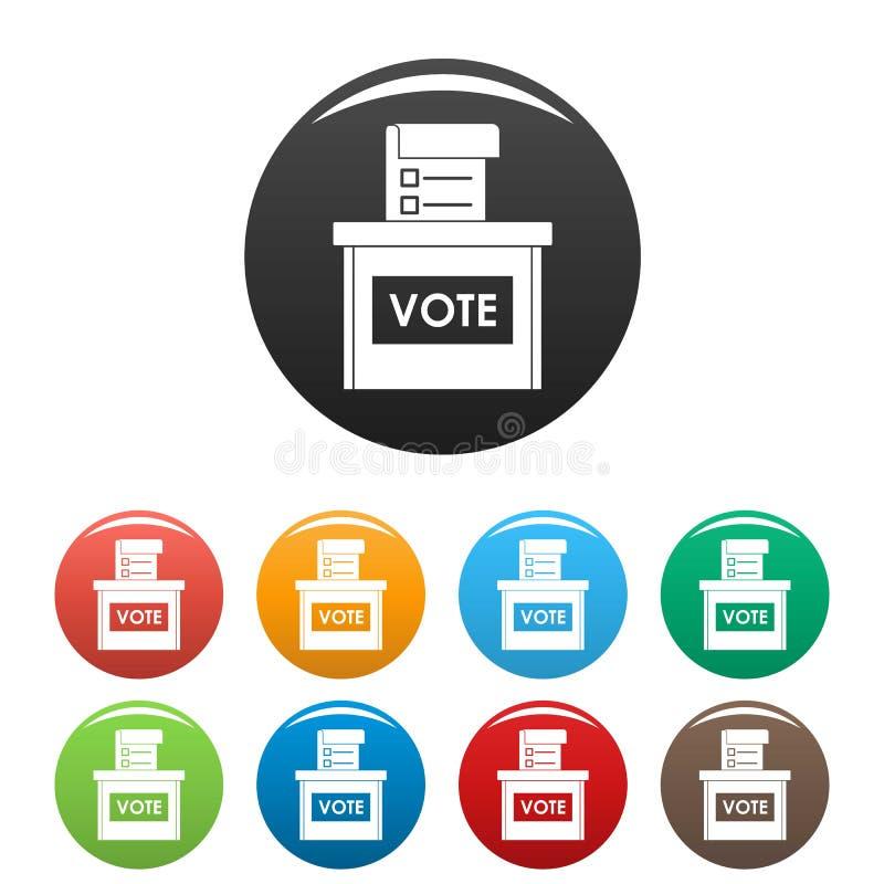Couleur d'ensemble d'icônes de boîte d'élection de vote illustration libre de droits