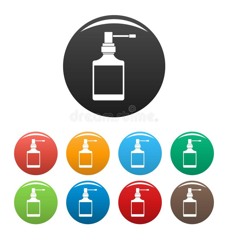 Couleur d'ensemble d'icônes de bouteille de jet de respiration illustration libre de droits