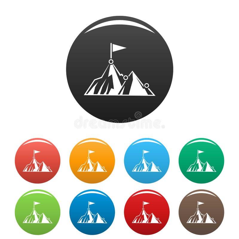Couleur d'ensemble d'icônes de cible de montagne d'affaires illustration de vecteur