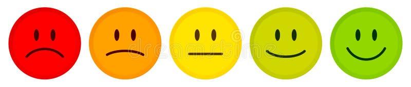 Couleur d'humeur de cinq visages rouge pour verdir illustration stock