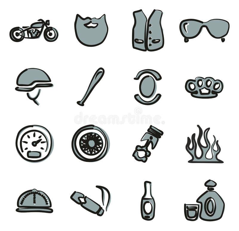 Couleur 2 d'icônes de club de moto à main levée illustration de vecteur