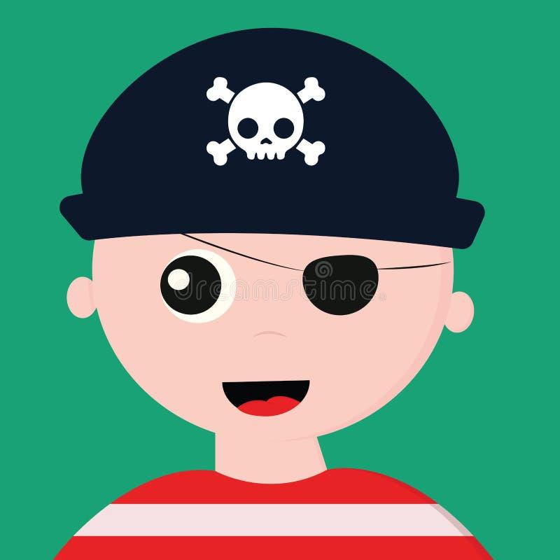 Couleur d'un pirate avec une casquette sur fond vert riant vectoriel ou illustration couleur illustration libre de droits