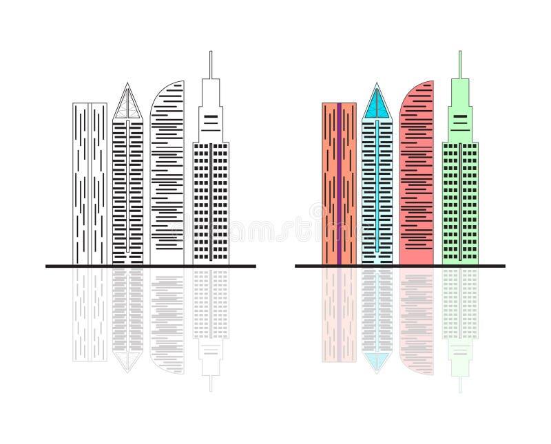Couleur de blanc de noir d'horizon de ville de bâtiments illustration libre de droits