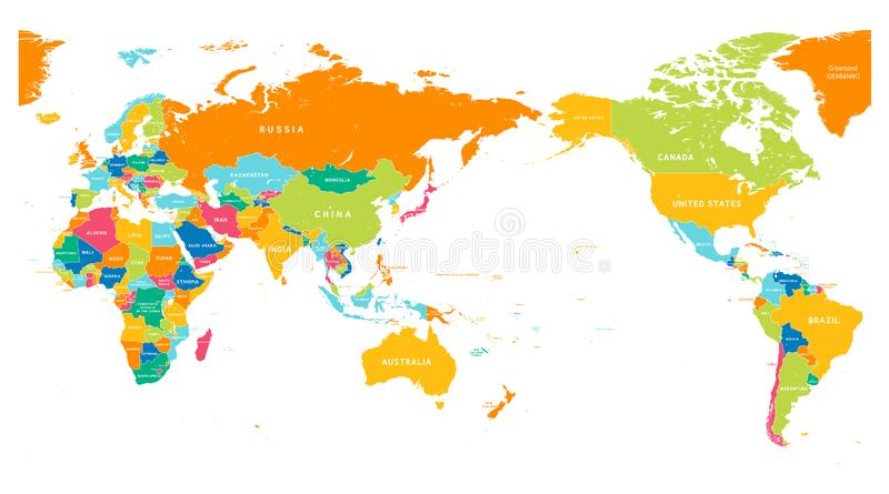 Couleur de carte du monde de centre de l'Asie illustration de vecteur