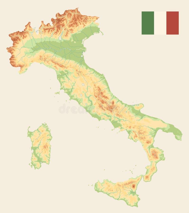 Couleur de carte physique de l'Italie rétro - aucun texte illustration stock