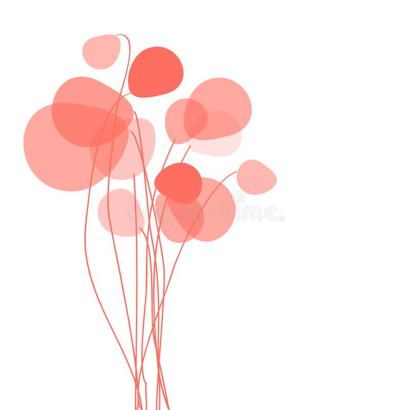 Couleur de corail de pissenlits de fleurs sur un fond blanc illustration libre de droits