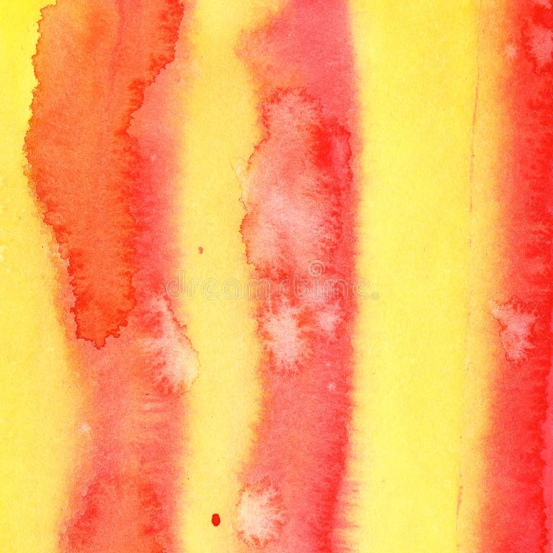 Couleur de corail rouge jaune-orange de fond d'abrégé sur aquarelle d'illustration avec le gradient de divorce l'eau barrée de ta illustration de vecteur