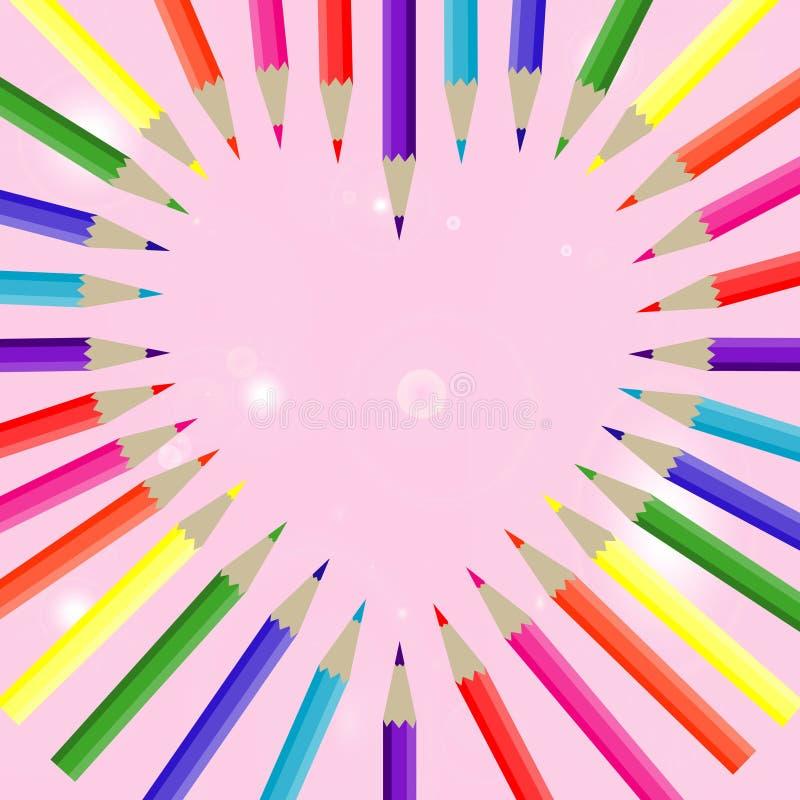 Couleur de crayon de coeur photos stock