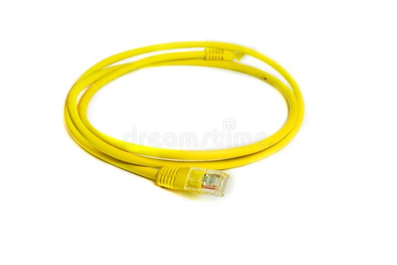 Couleur de jaune de câble de l'Ethernet RJ-45 de connexion réseau de LAN photo libre de droits