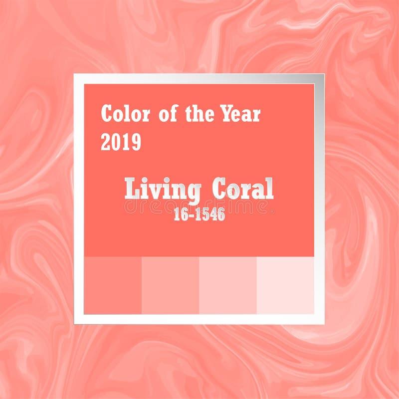 Couleur de l'année 2018 Palette de tendance Fond de corail vivant d'échantillon avec la texture de marbre de modèle illustration libre de droits