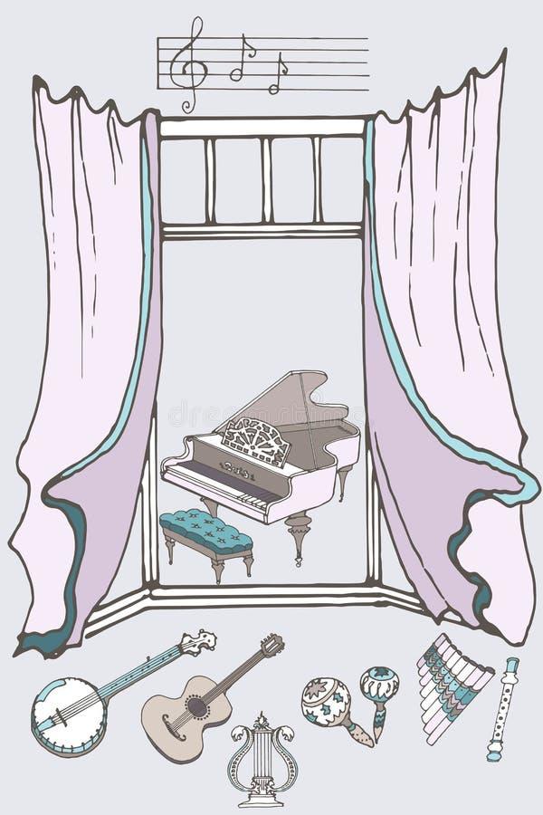 Couleur de la fenêtre music2 illustration stock